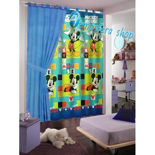 tenda topolino in cotone con asole per finestra