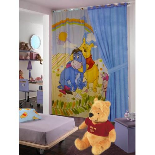 Tenda Winnie The Pooh in cotone con disegno grande con passanti 170x280
