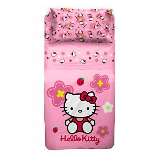 Copriletto Hello Kitty Singolo.Completo Lenzuola Hello Kitty Singolo